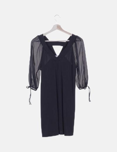 Vestido manga abullonada negro