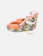 Sandales orange compensées multicolores Ana mariana