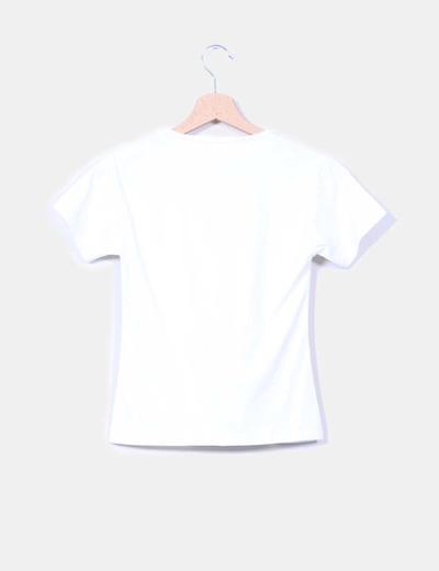 Camiseta blanca manga corta print flores