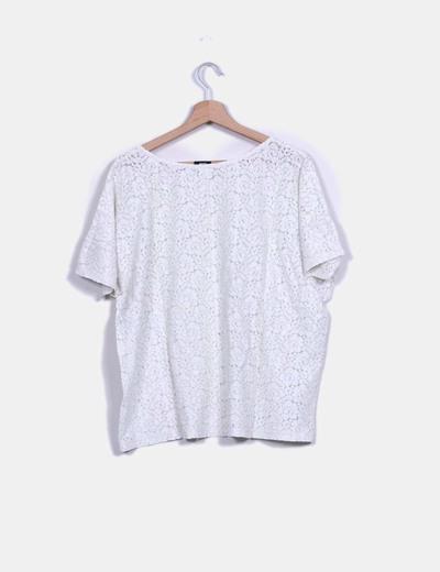 Top guipur oversize blanco