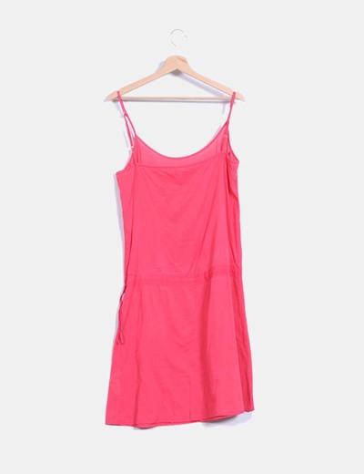Vestido de tirantes color coral