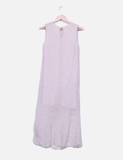 Vestido gasa rosa palo