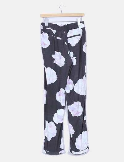 Pantalon baggy gris marengo estampado floral