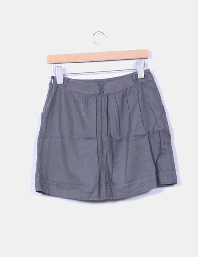 Mini falda gris evase
