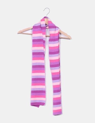 Bufanda de rayas tonos rosas y morados