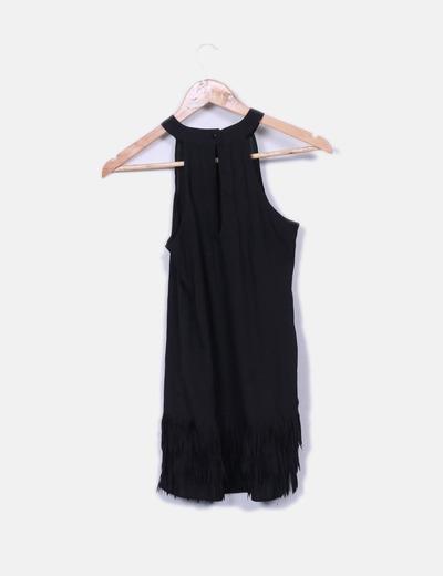 Blusa larga negra flecos