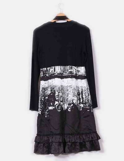 Vestido negro estampado en blanco