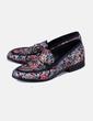 Zapato plano texturizado con estampado floral multicolor Uterqüe