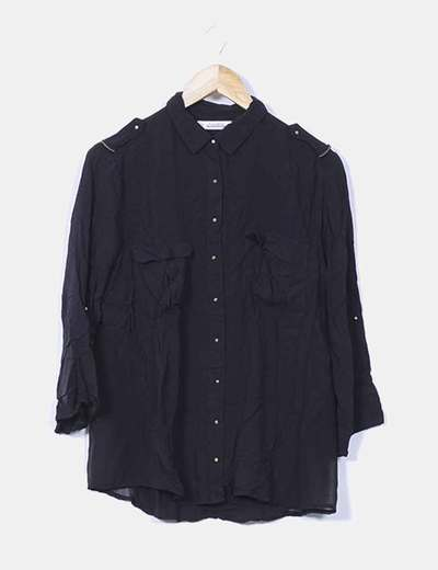 Camisa negra manga larga Pull&Bear