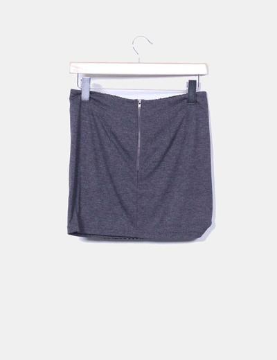 Mini falda gris marengo lentejuelas negras