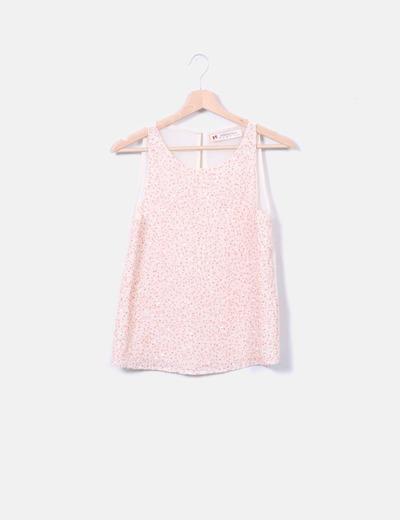 Blusa beige con paillettes rosas