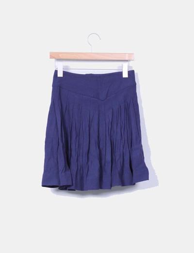 Falda mini azul marino abotonada