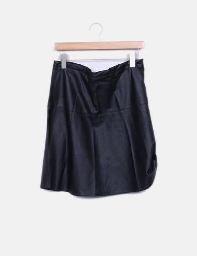 Jupe noire en simili-cuir NoName