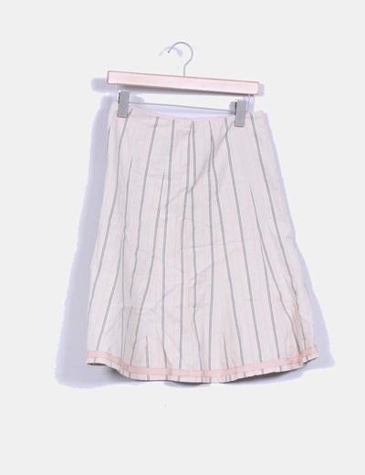 Falda beige con vuelo estampado rayas NANETTE LEPORE