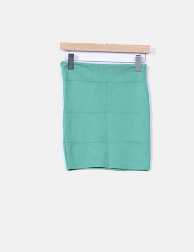 Mini falda verde elástica Pull&Bear
