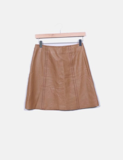Jupe marron en cuir Miss Selfridge