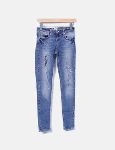 Jeans denim pitillo ripped Zara