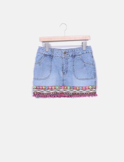 Minijupe en jeans ethnique New Look