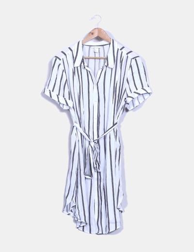 c60dce8c6 H M Vestido camisero blanco con rayas premamá (descuento 70%) - Micolet