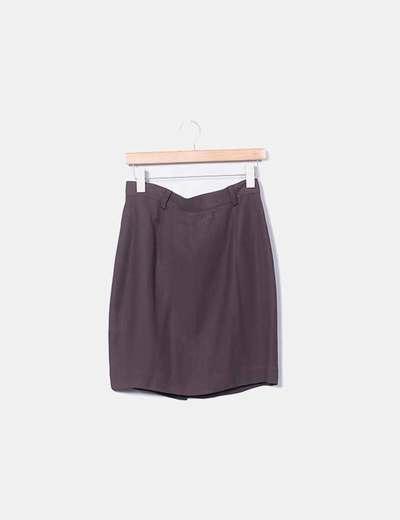 Falda marrón midi