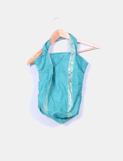 Bolso de tela verde con pailettes NoName