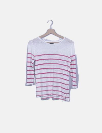 Jersey blanco con rayas horizontales rosas