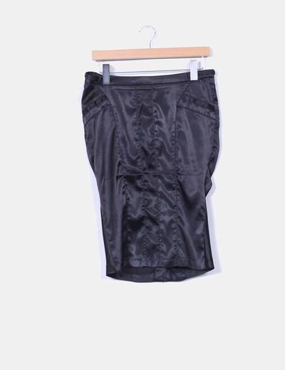 Falda negra satinada drapeada Amisu