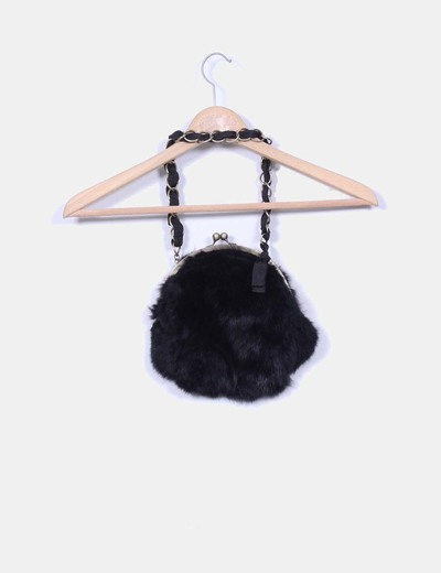 Bolso mini negro de pelo
