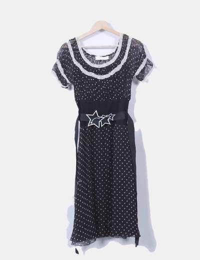 Vestido negro print estrellas Fornarina