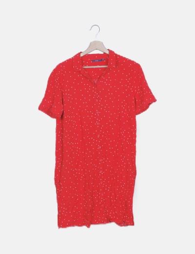 Vestido camisero rojo print corazones