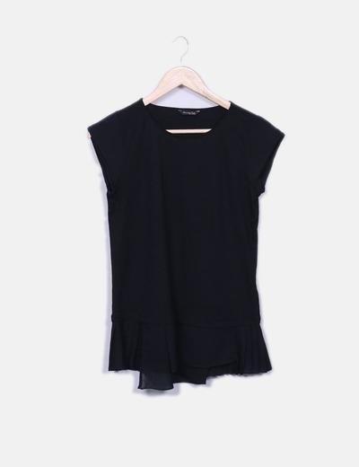 Camiseta negra combinada Massimo Dutti