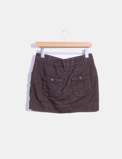 Mini falda cargo marron