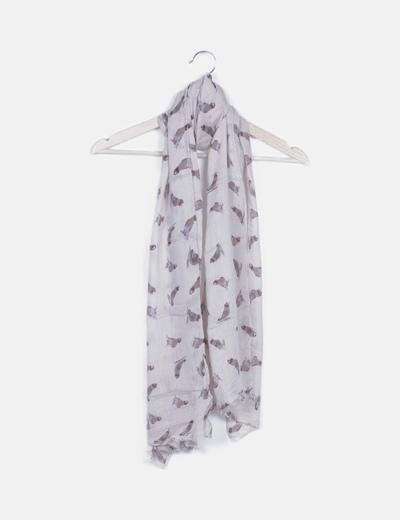 Foulard beige print pájaros