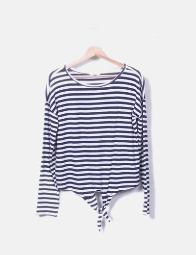 Camiseta tricot rayas azules