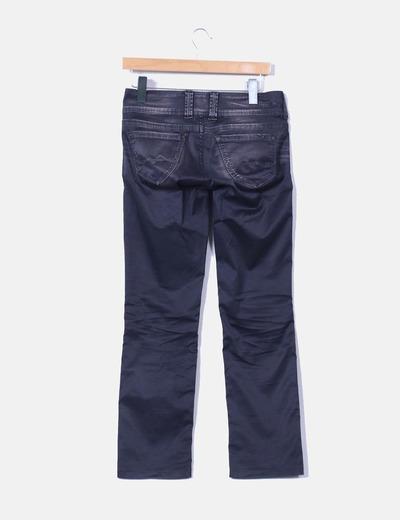 Pantalon gris marengo encerado efecto desgastado