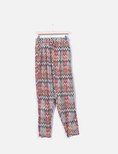 Pantalón baggy fluido zig zag colores