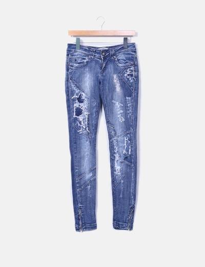 Pantalón pitillo azul oscuro Bershka