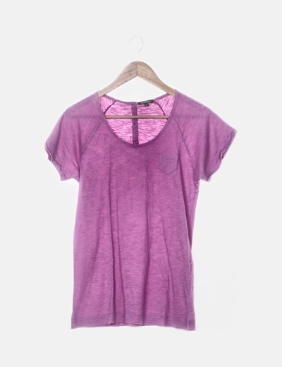 Camiseta rosa detalle bolsillo