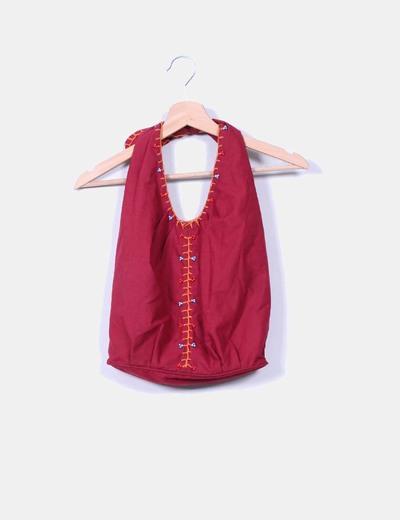 Bolso burdeos de tela estilo saco NoName