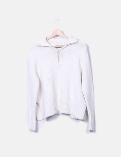 de6fd563e2aa ... Strickpulli Weißer Reißverschluss-Pullover Zara ...