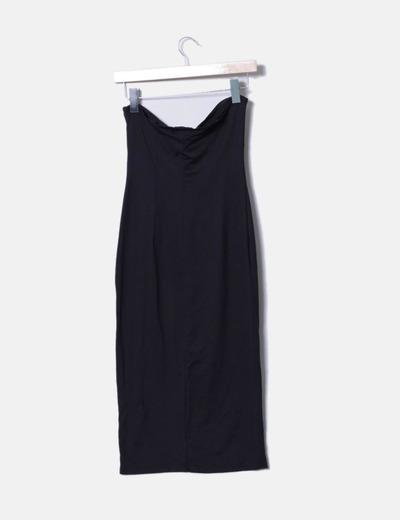 Vestido elastico negro con broche