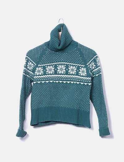 Pull deux couleurs col roulé avec tricot Zara