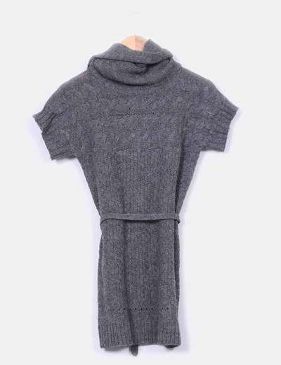 Jersey largo gris marengo cuello vuelto