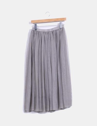 Falda midi de tul gris NoName