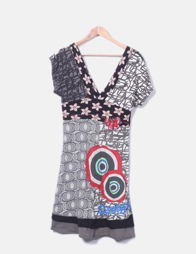 Vestido escote pico colores detalle paillettes