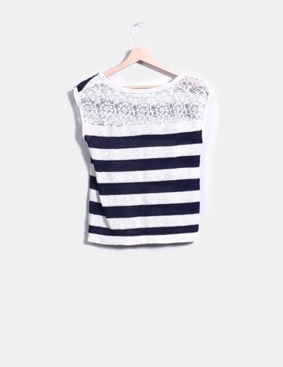 Jersey sin mangas de rayas azul marinas con puntilla en la espalda
