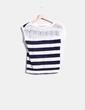 Jersey sin mangas de rayas azul marinas con puntilla en la espalda  Bershka