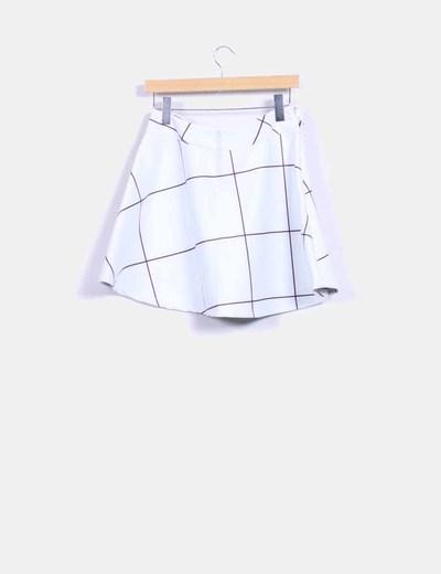 Falda midi blanca cuadros