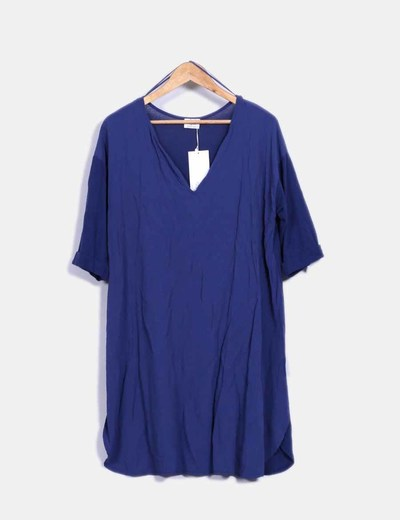 Vestido combinado azul Zara