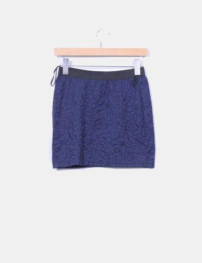 Mini falda azul marino texturizada elastica